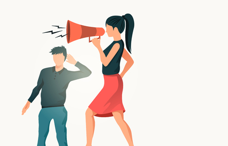 A women using a megaphone with a man in the background not recieving the message. People vector illustration. Illustration