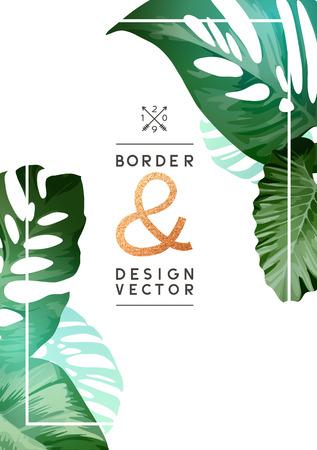 Vintage Floral minimal frame design with palm tree leaves. Vector illustration.  イラスト・ベクター素材