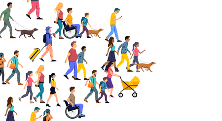 A large crowd of casual people including men, women, children and families. Vector illustration.