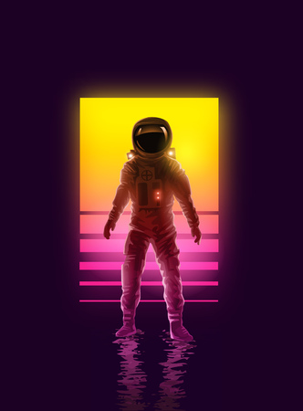 An astronaut spaceman backlit by neon lights. Space exploration vector illustration.  イラスト・ベクター素材