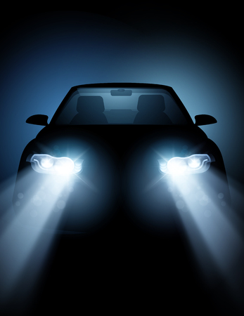 A modern driving car at night with bright generic headlight lamps glowing in the night. Vector illustration.