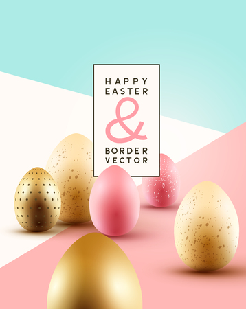 Pastel coloured Easter background composition with gold and pink chocolate Easter eggs. Vector illustration.
