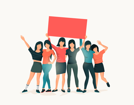 A group of women standing together and holding up a blank sign. People vector illustration.