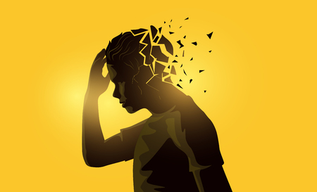 A stressed out adult male man holding his head. Mental health awareness concept. Vector illustration.  イラスト・ベクター素材