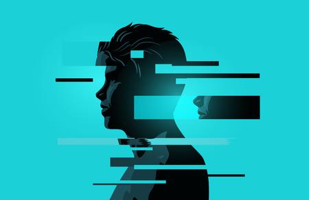 Imagen de un hombre con fragmentos de fallas Problemas de salud mental. Concepto de ansiedad, atención plena y conciencia. Ilustración de vector.