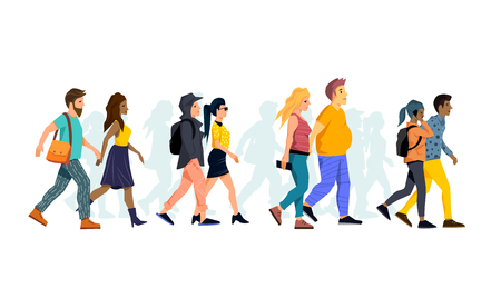 A collection of young couples walking together. Vector people illustration.