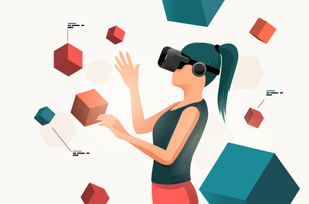 A young women moving objects around using a virtual reality VR headset. People vector illustration.  イラスト・ベクター素材