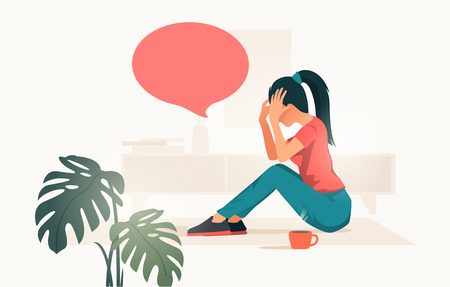 An upset and stressed young women at home holding her head. people vector illustration.  イラスト・ベクター素材