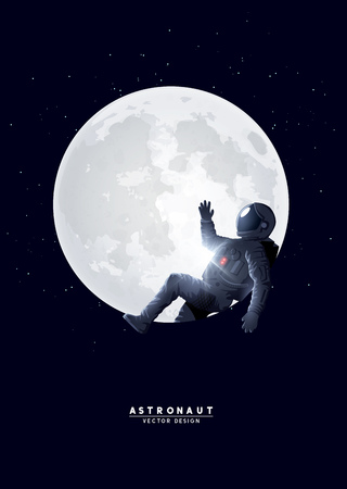 A spaceman astronaut relaxing on the moon. Vector illustration.