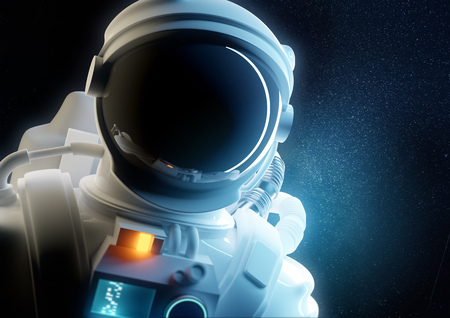 Portrait of an Astronaut spaceman floating in space. 3D people illustration. 写真素材