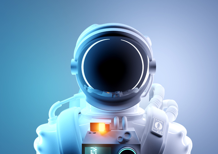Future space exploration. A portrait of a adult astronaut in a futuristic and protective space suit. 3D illustration.