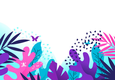 Bright and colourful creative floral plants based background with textures. Vector illustration.  イラスト・ベクター素材