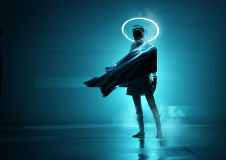 A futuristic space women cyborg astronaut standing in front of the camera with a glowing neon loop. Conceptual people portrait 3D illustration. Banco de Imagens