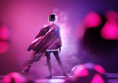 A futuristic female space astronaut wearing a space helmet. Conceptual people 3D illustration.