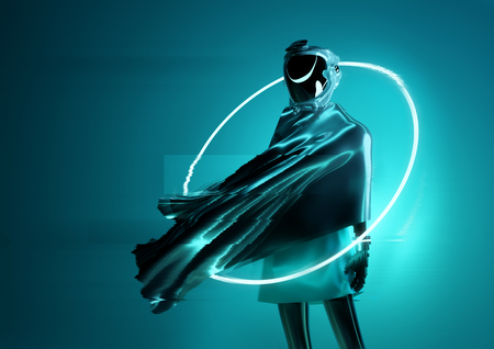 A strange and mysterious space women astronaut posing for the camera. Futuristic cyborg women 3D illustration concept. Stok Fotoğraf