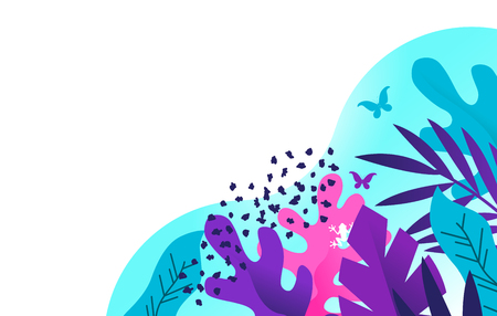 Abstract vector illustration of colourful plants and textures for use in design backgrounds etc.