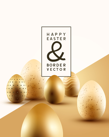 A collection of golden Easter chocolate eggs with room for text. Easter composition vector illustration.  イラスト・ベクター素材