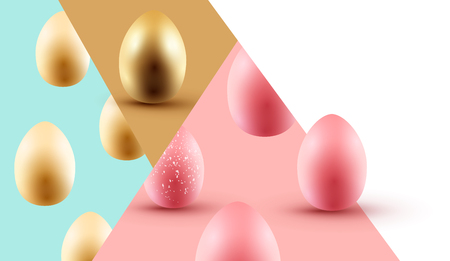 A pastel coloured abstract Easter eggs background design layout. Vector illustration.