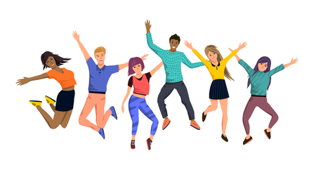 A large team group of happy jumping people characters. Vector illustration.