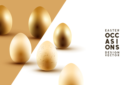 Happy Easter composition with gold and cream Easter eggs. Vector illustration.