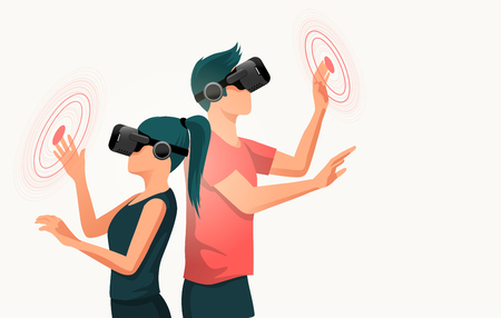 Two young adults using virtual reality headsets. People vector illustration.  イラスト・ベクター素材