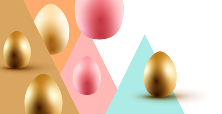 Easter event layout design with gold and pastel coloured Easter eggs. Vector illustration.