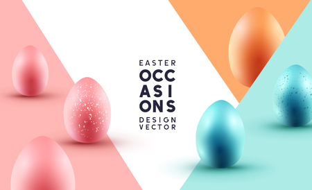 Pastel coloured chocolate Easter eggs event composition layout. Vector illustration.