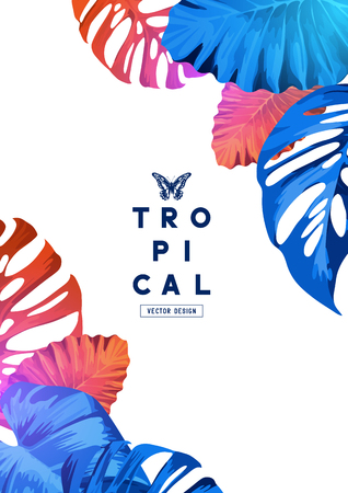 Bright and colourful tropical border layout design. Vector illustration.