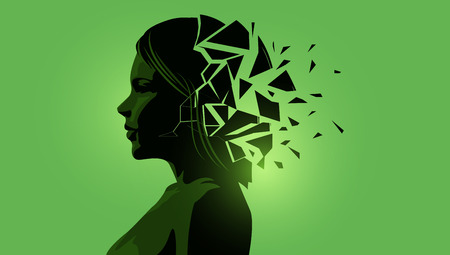 Adult women silhouette with a fractured mind. Mental Health vector illustration.  イラスト・ベクター素材