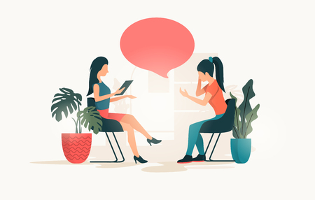 A young women talking to a therapist about her issues and wellbeing. People Vector illustration
