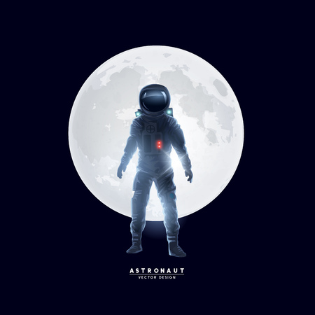 An astronaut spaceman stood in front of the moon. Vector illustration.