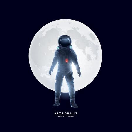 Un astronauta astronauta si trovava di fronte alla luna. Illustrazione vettoriale. Vettoriali