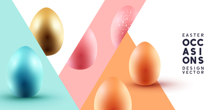 Abstract Easter background with various easter Eggs. Vector illustration.