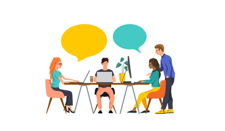 A small team of people working together to build a business. Vector illustration.