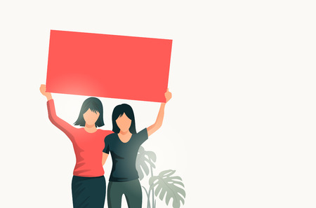 Two women standing together and holding up a blank sign. People vector illustration.