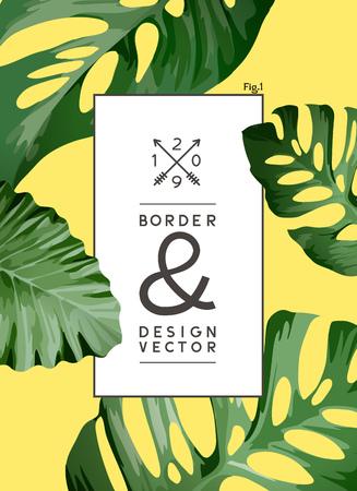 A vintage palm tree leaf frame background design. vector illustration.