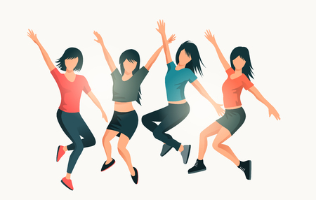 A group of happy women jumping together. People vector illustration.