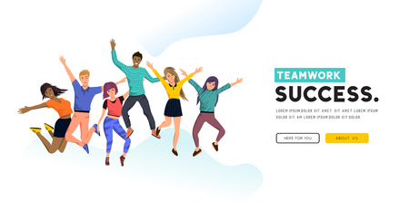 A team of successful jumping people. Positive concept vector illustration.  イラスト・ベクター素材