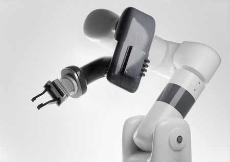 A modern looking programmable robotic arm for use in automatic manufacturing production. Generic robot 3D illustration. Stock Photo