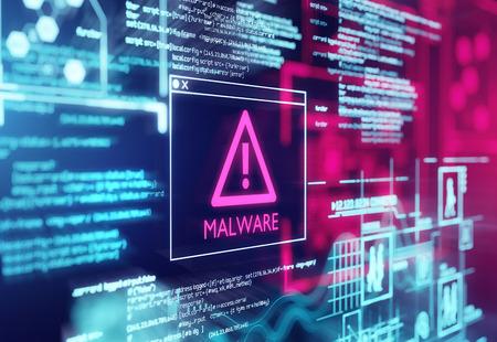 Un écran d'ordinateur avec un code de programme avertissant d'un programme de script malveillant détecté. illustration 3D
