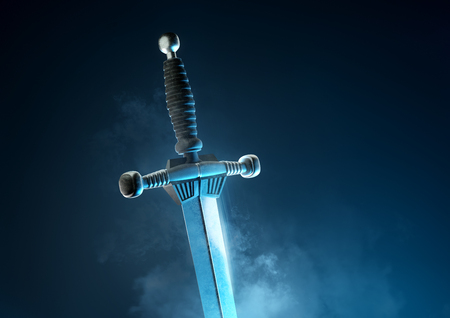 A powerful and mythical ancient silver battle sword. 3D illustration. Фото со стока