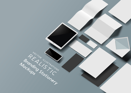 Una serie di modelli realistici di cancelleria per ufficio e strumenti con effetto 3D. Illustrazione vettoriale. Vettoriali