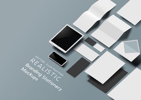 Zestaw realistycznych szablonów papeterii biurowej i narzędzi z efektem 3D. Ilustracja wektorowa. Ilustracje wektorowe