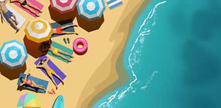 A top Aerial view of people relaxing and sunbathing on a beach. Holiday background vector illustration