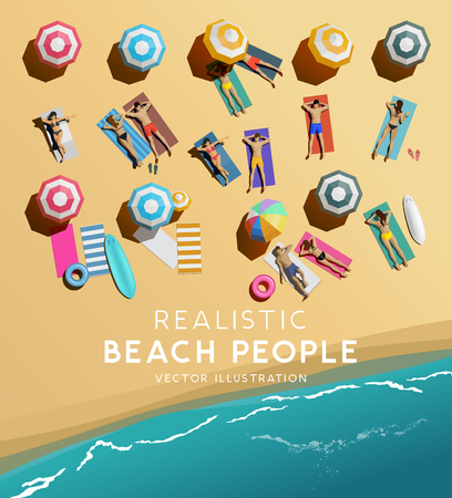 Top Aerial view of people characters relaxing on a beach holiday. Vacation background.