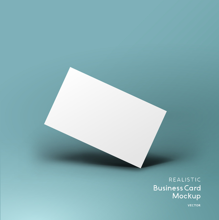 Realistic business card mockup template with vector shadow effects.