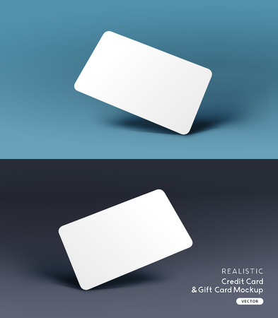A realistic business credit  gift card placeholder mockup stationary layout with shadow effects. Vector illustration