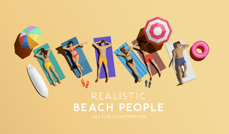 Couples and friends enjoying the summer at the beach. Aerial view of people relaxing, vector illustration. Ilustracja