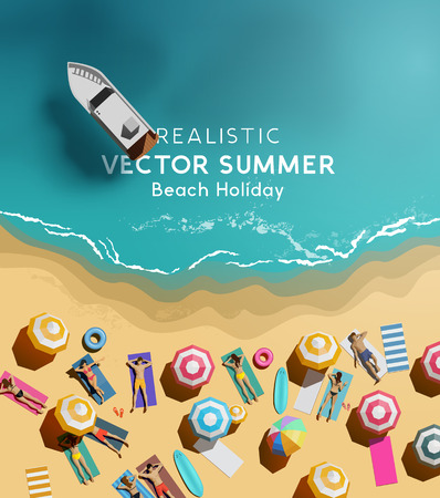 Summer holiday background with a group of people relaxing and having fun by the sea. Top down  aerial view vector illustration.