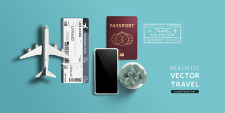 Travel background with a toy airplane, passport and airline boarding pass tickets. Vector illustration.